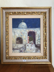 Sale 8677B - Lot 604 - Artist Unknown, Cairo, oil on panel 44 x 50cm in a gilt frame, initialed A.S. lower left.