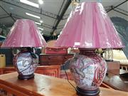 Sale 8740 - Lot 1173 - Pair of Royal Satsuma Style Table Lamps (4144)