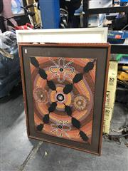 Sale 8824 - Lot 2098 - Group of Assorted Artworks incl. Aboriginal Artwork, Decorative Prints, Nude mixed media painting Sitting Pretty