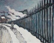 Sale 8858 - Lot 535 - Tom Carment (1954 - ) - Gare Pont Cardinet in Winter, 1987 97.5 x 121.5 cm