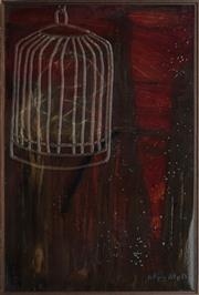 Sale 8910 - Lot 2016 - Joshua Bullen & Catherine Conciecao Bird Cage Series No.5, 2006 silicon, oil and resin on board, 90 x 60cm, signed -