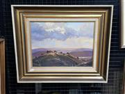 Sale 9036 - Lot 2021 - Werner Filipich Farmstead on the Hill and Sunset oil on board 47 x 57cm (frame) signed -