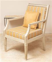 Sale 9071H - Lot 12 - A single cream painted armchair with peach stripe upholstery in the shabby chic style, Height of back 90cm x Width 59cm
