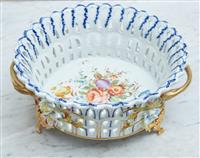 Sale 9090H - Lot 61 - A Sevres hand painted and gilt footed bowl. Height 11cm x Diameter 22cm