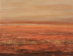 Sale 9125A - Lot 5085 - Paul Jones (1921 - 1997) - Town in the Outback 90 x 117.5 cm (frame: 110 x 136 x 4 cm)