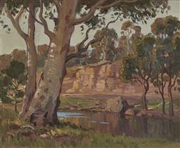 Sale 9170A - Lot 5043 - ERIK LANGKER (1898 - 1982) Gums Trees By a River oil on board 29.5 x 37 cm (frame: 47 x 54 x 3 cm) signed lower right