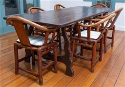 Sale 9191H - Lot 52 - Timber Farhouse dining table on iron stretcher base, H 77x W 92 x L 240 cm