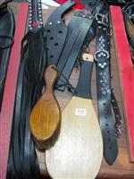 Sale 7926A - Lot 1737 - Leather discipline implements including collars