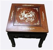 Sale 8123 - Lot 66 - Rosewood Chinese Side Table with Shell Inlay