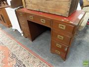 Sale 8472 - Lot 1088 - Timber Twin Pedestal Desk with Red Leather Inlaid Top & Nine Drawers