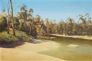 Sale 8526 - Lot 580 - William Ronald Mathewson (1943 - ) - Swimming Hole Darling River 59 x 90 cm
