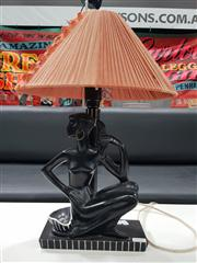 Sale 8801 - Lot 1082 - Barsony Table Lamp with Timber Stem & Pleated Shade