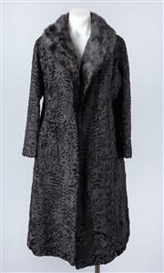 Sale 8828F - Lot 26 - A Black Broadtail Full-Length Coat By Hammerman Furs, Size Medium/Large