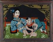 Sale 8890 - Lot 21 - A Chinese Framed, Reverse Painted, Picture Depicting Family Scene (width - 70cm)