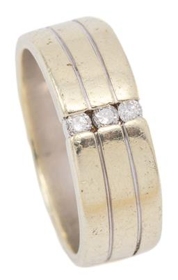 Sale 9132 - Lot 499 - A 9CT WHITE GOLD GENTS DIAMOND RING; 7mm wide 3 band style set with 3 round brilliant cut diamonds totalling approx. 0.14ct with Eng...