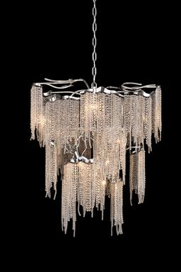 Sale 9140W - Lot 1 - A pair of Brand Van Egmond Victoria ten light silver pendant chandeliers with bending strings of clear crystals. 60cm Diameter x 7...