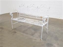 Sale 9151 - Lot 1436 - Wrought iron 3 seater garden bench (h:94 x w:132 x d:47cm)