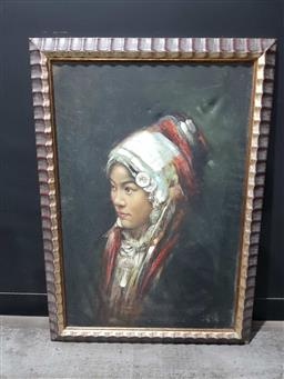 Sale 9176 - Lot 2164A - Artist Unknown Portrait of a Young  Girl in Traditonal Headdress  oil on board, 100 x 70 cm