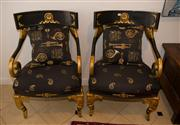 Sale 7984 - Lot 10 - A pair of black and gold Versace style fauteils
