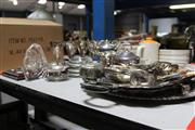 Sale 8139 - Lot 2298 - Large Collection of Silver Plated Wares, inc Christening Cups ,Godlets Serving Trays, Trinket Box and Cutlery and Barometer