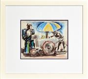 Sale 8266 - Lot 588 - Josef Herman (1911 - 2000) - Man at Food Cart 20 x 24.5cm