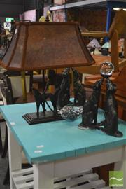 Sale 8284 - Lot 1088 - Greyhound Table Lamp and 2 Garnish