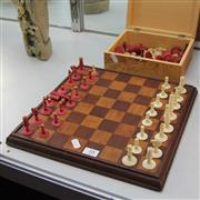 Sale 8306 - Lot 18 - Bone Carved Chess Set (some pieces needing repair)