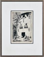 Sale 8382 - Lot 583 - Lionel Lindsay (1874 - 1961) - Untitled (Outside a Spanish Tavern) 27 x 17.5cm