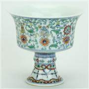 Sale 8413 - Lot 49 - Doucai Floral Stem Cup