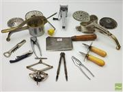 Sale 8439F - Lot 1867 - Collection of Vintage Utensils incl. Cleaver, Wine Bottle Openers, Shuking Knifes, Nut Crackers etc