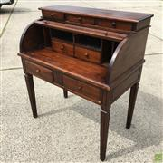 Sale 8649R - Lot 136 - Mahogany Roll Top Desk with Carved Rectangular Form Legs (H: 117 W: 104 D: 60cm)
