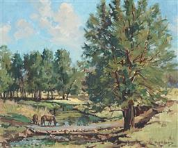 Sale 9099A - Lot 5059 - Rhys Williams (1894 - 1976) - Horses Grazing Near Waterhole, Camden 36.5 x 44.5 cm (frame: 54 x 62 x 4 cm)