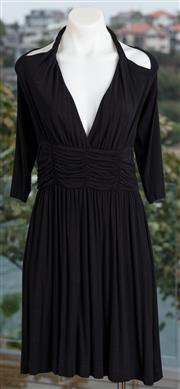 Sale 9044H - Lot 66 - A Tufi Duek pleated evening dress with halter neck and 3/4 sleeves in black size L