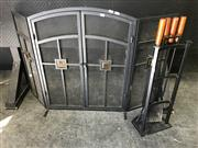 Sale 9043 - Lot 1071 - Fire Place Set incl. Guard and Tools on Stand