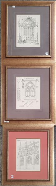 Sale 9065 - Lot 2067 - A group of three French Cathedral Architectural lithographs