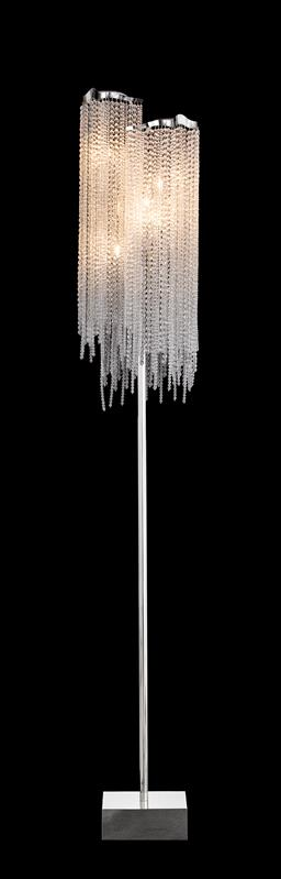 Sale 9140W - Lot 5 - A Brand Van Egmond Victoria five light floor lampwith matt silver finishes and bending strings of clear crystals.  30cm D x 190...