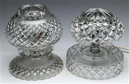 Sale 9168 - Lot 482 - Cut crystal table lamps (H:23cm & 25cm) (some chips to underside)