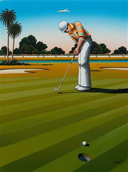 Sale 9191H - Lot 51 - JAMES WILLEBRANDT Birdie Putt, 1992 acrylic on canvas 108 x 80 cm signed lower right