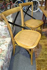 Sale 8161 - Lot 1036 - Set of 6 Timber Framed Chairs with Metal Cross Back