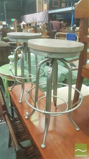 Sale 8404 - Lot 1096 - Set of Three Industrial Style Zinc & Oak Swivel Stools