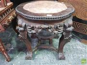 Sale 8444 - Lot 1049 - Chinese Carved Rosewood Pedestal, with marble insert, on cabriole legs with mask heads
