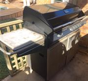 Sale 8562A - Lot 257 - A Turbo by BBQ Galore five burner outdoor BBQ, with cover