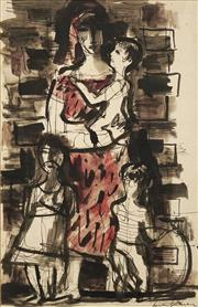 Sale 8665 - Lot 515 - Francis Lymburner (1916 - 1972) - Mother & Children 30 x 19cm