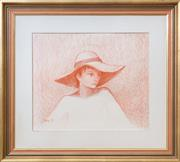 Sale 8677B - Lot 619 - Oxley, Portrait of a young child wearing a hat, crayon on paper, 41 x 48cm, signed and dated lower left 74.