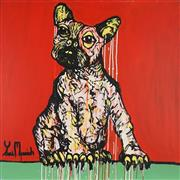 Sale 8837A - Lot 5018 - Yosi Messiah (1964 - ) - Fire Red Dog, 2019 102 x 102cm