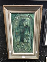 Sale 8850 - Lot 2031 - William Drew - Untitled 1960 (Eagle) oil on card board, 33 x 16.5cm, signed/dated -