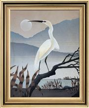 Sale 8969 - Lot 2028 - Artist Unknown Crane in Moonlight acrylic on canvas on board, 60 x 51cm (frame), signed