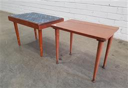 Sale 9137 - Lot 1073 - Vintage tile top side table & another timber example (h37 x w52 x d35cm)