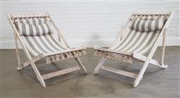 Sale 9215 - Lot 1550 - Pair of painted timber deck chairs (h86 x w70 x d104cm)