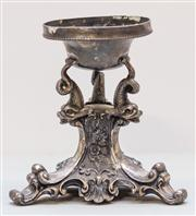 Sale 8287A - Lot 87 - A single ornate pewter candle holder, 14cm high x 14cm wide
